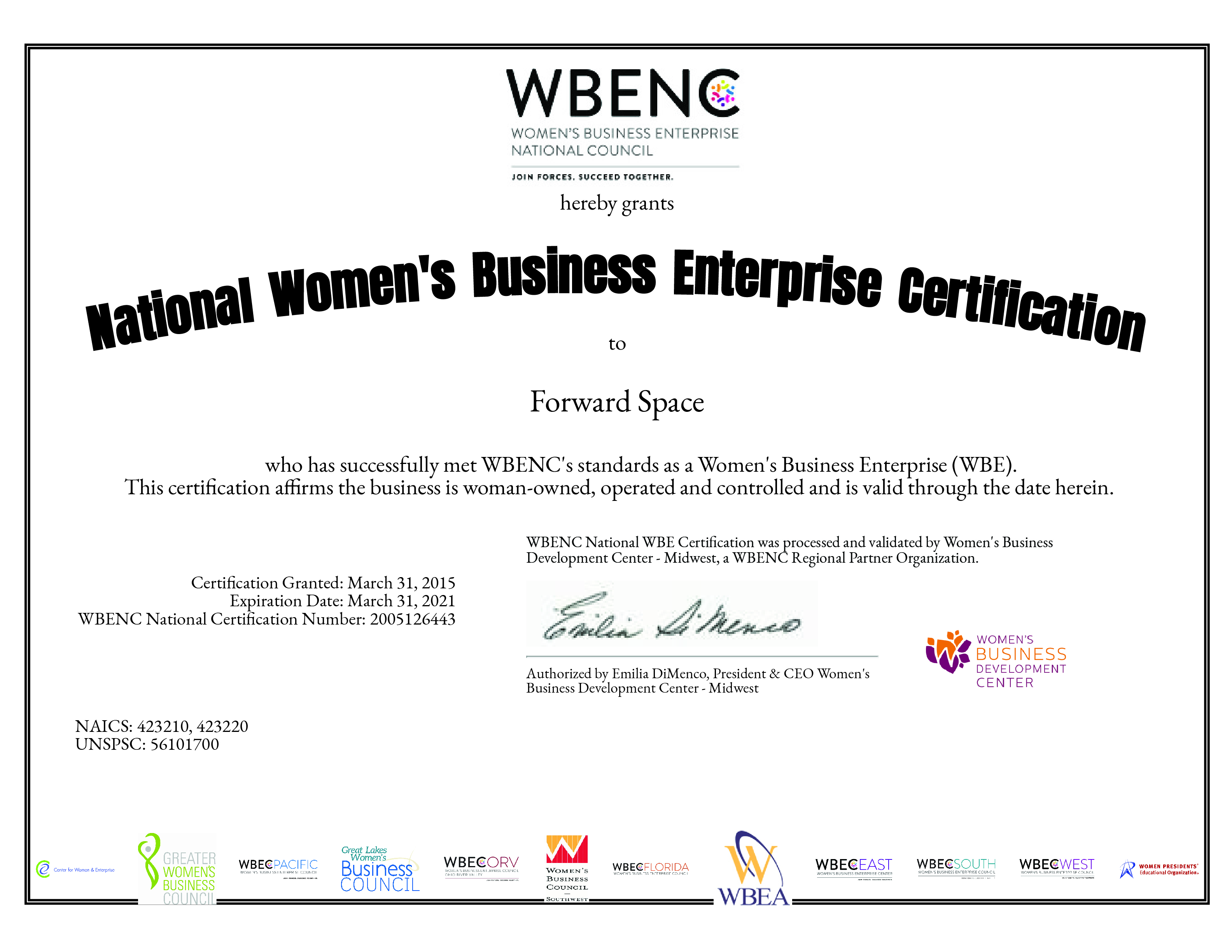 2020 WBE Certification